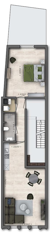 Appartement Eindhoven - Rechtestraat 65B Plattegrond